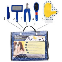 Dog/Pet Grooming Kit -Brush, Nail Clippers, Massage/Fur Glove