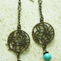 Antique Brass Chain Earrings / Daisy Design Charm/ Turquoise Bead/ French Wire / Handmade Beaded Earrings / Fashion Jewelry