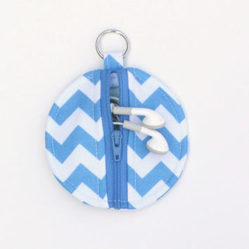 Blue and White Chevron Circle Zipper Earbud Pouch and Coin Purse