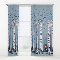 The Birches (in Blue) Window Curtains by littleclyde