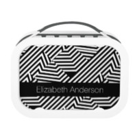 Trendy Black and White Geometric Stripes With Name Yubo Lunch Box