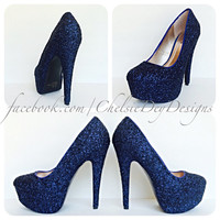 Navy Blue Glitter High Heels