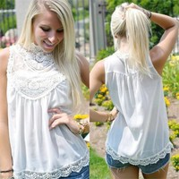 Keeping It Breezy Tank (Ivory) - Piace Boutique