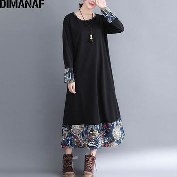 DIMANAF Women Long Dresses Elegant Ladies Vestidos Female Clothes Vintage Plus Size Linen Print Spliced Loose Dress 2018 Autumn
