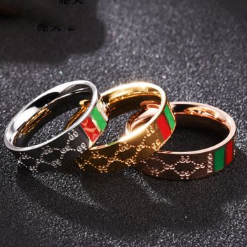 GUCCI New fashion red green more letter couple ring accessories