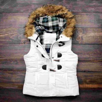 Day-First™ mountain slopes fur hooded white puffer vest