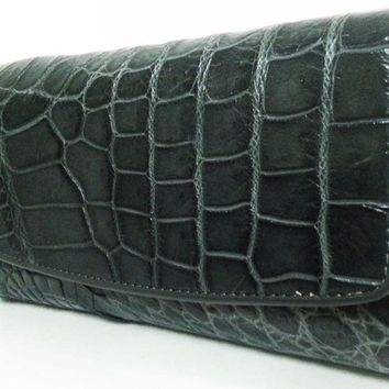 Crocodile Genuine Real Leather Trifold Bags Skin Women Clutch Lady Wallet Purse