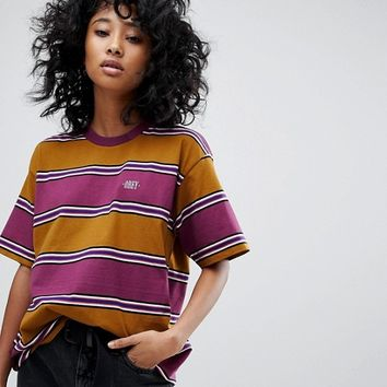 Obey Oversized T-Shirt In Retro Stripe at asos.com