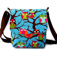Owl Purse Small Messenger Bag - Teal Corduroy with Multi Color Owls and Brown