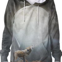 The Light of Starry Dreams (Wolf Moon 2) Unisex Hoodie Sweatshirt created by soaringanchordesigns | Print All Over Me