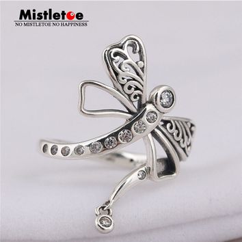 Mistletoe Authentic 925 sterling Silver Dreamy Dragonfly Ring, Clear CZ Compatible with European Jewelry