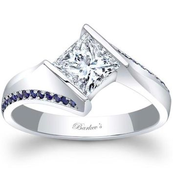 Barkev's Tension Twist Half Bezel Set Princess-Cut Blue Sapphire Engagement Ring