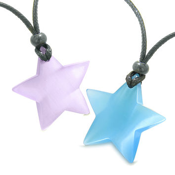 Super Star Amulets Love Couple or Best Friends Purple and Sky Blue Cats Eye Crystal Pendant Necklaces