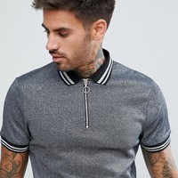 ASOS Polo Shirt In Silver Metallic Fabric With Silver Tipping And Ring Pull at asos.com