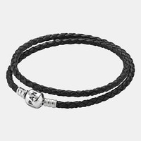 Women's PANDORA Leather Wrap Charm Bracelet