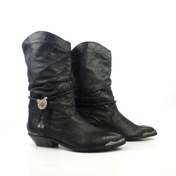 Zodiac Leather Boots Vintage 1980s Short Black Cowboy Women's size 7