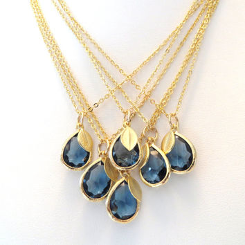 Navy Blue Bridesmaid Necklace Sapphire Blue Necklace Gold Leaf Necklace Navy Royal Blue Wedding Jewelry Something Blue Bridal Jewelry Cobalt