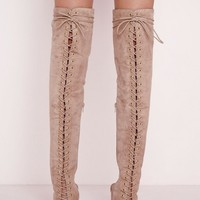 Missguided - over the knee lace up gladiator boots nude