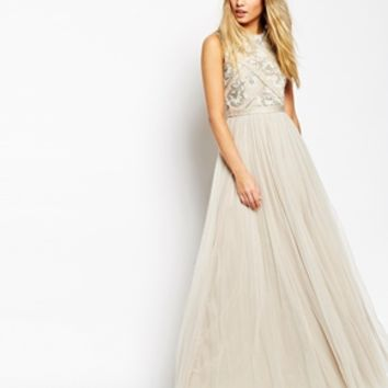 Needle & Thread Embellished Mesh Lace Maxi Dress