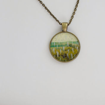 Jewelry Necklace Art Print Jewelry antiqued brass Art Pendant Landscape Photography Mixed Media Pendant Jewelry Wilderness Jewelry