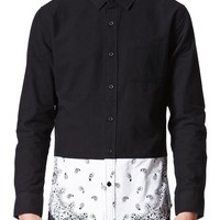 On The Byas Brick Pieced Long Sleeve Woven Shirt - Mens Shirt - Black