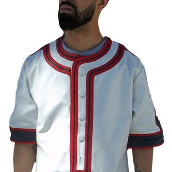 Mens White Leather Baseball Jersey Style Shirt Red & Navy Trim