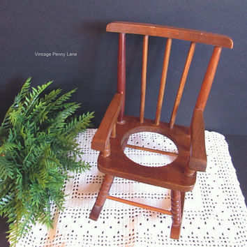 Vintage Miniature Wood Rocking Chair, Mini Chair, Plant Stand, Planter