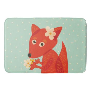 Flowers And Cute Fox Bathroom Mat