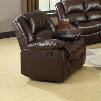 Yasmina Transitional Bonded Leather Recliner Chair, Rustic Brown