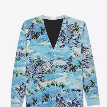 SAINT LAURENT OVERSIZED V NECK CARDIGAN IN BLUE, GREY, GREEN AND YELLOW HAWAIIAN PRINTED SILK, VIRGIN WOOL AND VISCOSE | YSL.COM