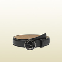 Gucci - leather belt with interlocking G buckle 336829AP00R1000