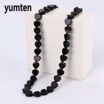 Yumten Black Agate Necklace Power Reiki Heart Natural Crystal Jewelry Necklaces Zelda Vintage