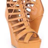Camel Strappy Lace Up Peep Toe Wedges Faux Leather