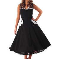 Bettie Page 50s Style Black Polka Dot Trim Swing Dress #50sstyledress #pinupdress #fullskirt #retrodress #swingdress