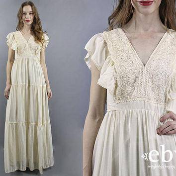 Hippie Wedding Dress Hippie Dress Hippy Dress Boho Dress Hippy Wedding Dress Boho Wedding Dress Vintage 70s Dress Beach Wedding Dress M