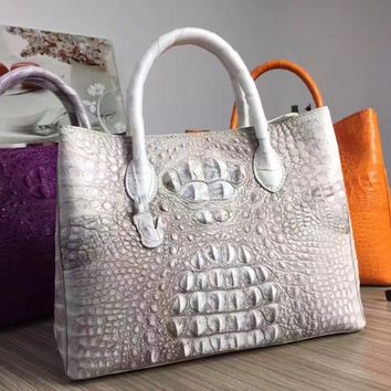 100% Genuine Alligator Skin Women's Totes Handbag High Quality Exotic Crocodile Leather Female Top Handle Bag Ladies Handbag