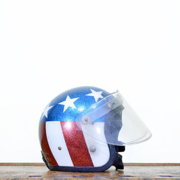 Vintage American Flag Motorcycle Helmet, Nesco 6410, Original Captain America Helmet, Glitter Bomb, 1960s, Stars And Stripes