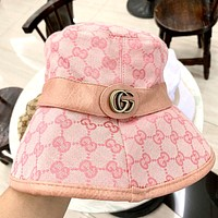 GUCCI 2019 new leather edging high-end fisherman hat pink