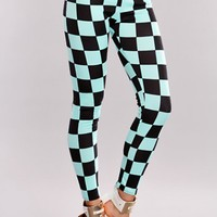 Mint Black Checkered Leggings