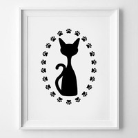 Nursery Animal Print,Printable Art,Downloadable Print,Wall Deco,Minimal Art,Minimalist Art,Nursery,Black,Black Cat Print,Cat Silhouette,Cat