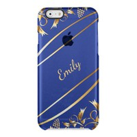 Blue and chic gold colored classic decor with name clear iPhone 6/6S case