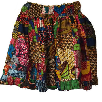 African Patch Batik Skirt
