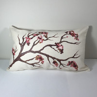 Throw Pillow Cover with Hand Painted Cherry Blossoms