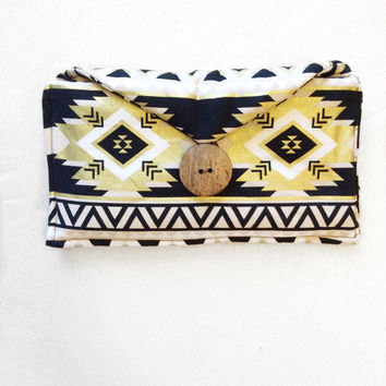 Black and Gold Aztec Clutch / Wallet / Simple / Girls Night Out