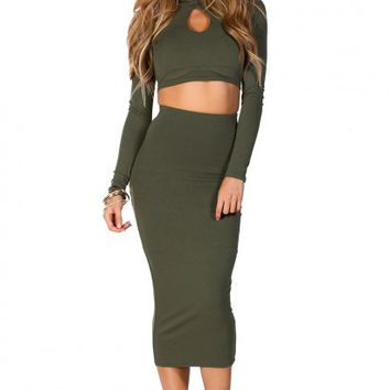Maxine Green Cut Out Long Sleeve Crop Top 2 Piece Dress