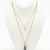 LAYERED BLUE CRYSTAL NECKLACE