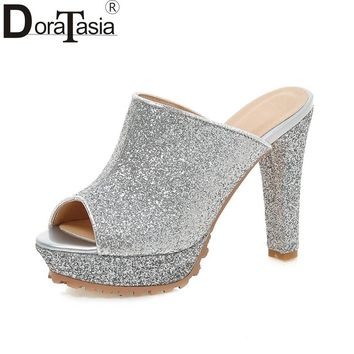 DoraTasia  Fashion Brand Woman Shoes Women Sexy Super High Heels Slip On Peep Toe Platform Party Mules Pumps Lady Footwear