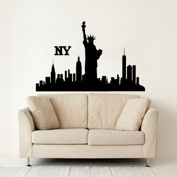 Wall Decal Vinyl Sticker Decals Art Decor Design Skyline NYC New York City  Statue Of Liberty