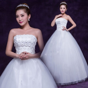 Charming wedding dresses new white 2015 bride wedding dress neat waist dress simple sweet white bridal gown