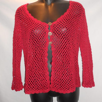 Vintage 80s First Issue Cardigan Loose Knit Netted Sweater Red Size Medium